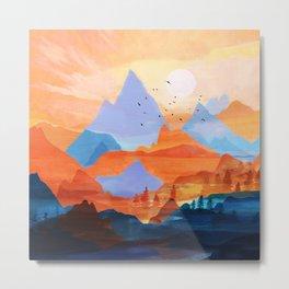 Sunrise Over the Fall Mountain Peaks Metal Print