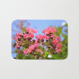 Blooming Pink Crepe Myrtle Flowers Bath Mat