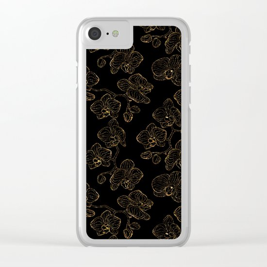 Flowers orchids ornament gold seamless pattern, stylish texture. Gold trendy glitter floral print on Clear iPhone Case