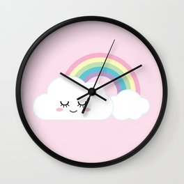 Happy little rainbow cloud Wall Clock