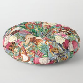 Floral and Animals pattern Floor Pillow