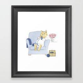 1013 Knitting Cat - Kitten Socks Framed Art Print