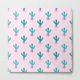 Succulent Cactus Pattern Metal Print