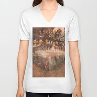 middle earth V-neck T-shirts featuring Middle of the Earth by Loredana