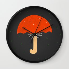 Mushroom umbrella, pine needle rain Wall Clock