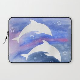Dolphin Silhouette with watercolor background Laptop Sleeve