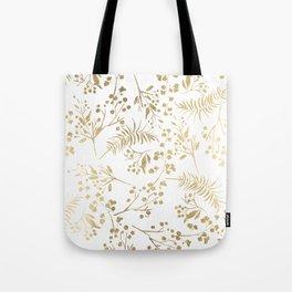 Elegant modern white faux gold floral Tote Bag