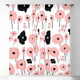 Pink Poppies Blackout Curtain