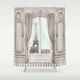 Eiffel Tower room with a view Shower Curtain