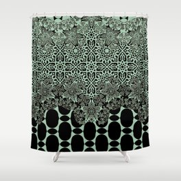 floral border with geo mix in light steel Shower Curtain