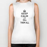 keep calm Biker Tanks featuring Keep Calm by Lunaramour