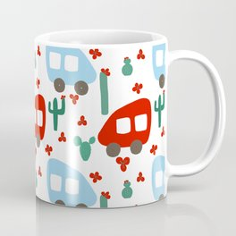 Camper Vans in Red and Blue with Green Cactus and Red Flowers Coffee Mug