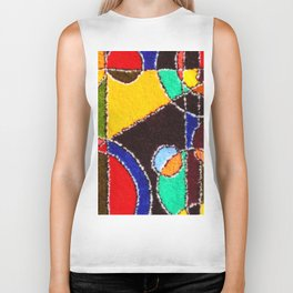 A carpet with an abstract pattern made by hands. Biker Tank