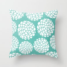 Turquoise Blossoms Throw Pillow