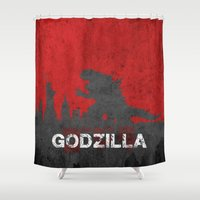 godzilla Shower Curtains featuring Godzilla by WatercolorGirlArt
