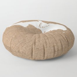 Florida is Home - White on Burlap Floor Pillow