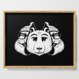 Bear Inside Black And White Serving Tray