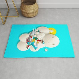 Time bunny girl and clouds Rug