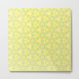Yellow Teal Pattern Design Metal Print