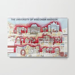 Badgers! University of WI, Madison Continuous Line Drawing on vintage map Metal Print