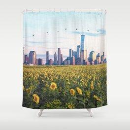 New York City Skyline and Sunflower Field Shower Curtain
