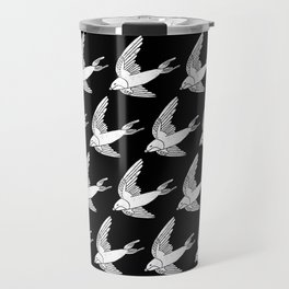 Linocut Swallow bird pattern black and white birds minimal gender neutral nursery Travel Mug