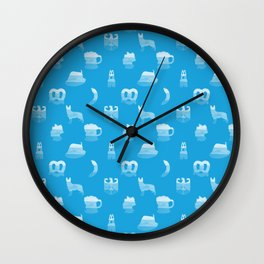 Oktoberfest Bavarian October Beer Festival Motifs in Bavarian Blue Wall Clock