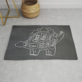 Stegosaurus Dinosaur (A.K.A Armored Lizard) Butcher Meat Diagram Rug
