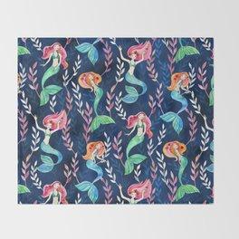Merry Mermaids in Watercolor Throw Blanket