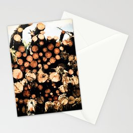 Transporting Logs Stationery Cards