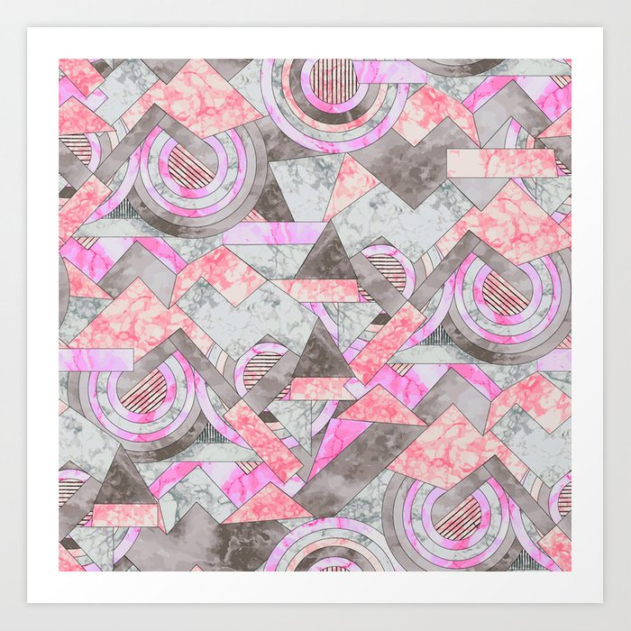 Abstract marble geo 001 Art Print