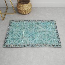 Victorian Turquoise Ceramic Tiles Rug