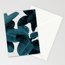 Indigo Blue Plant Leaves Stationery Cards