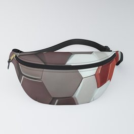 What The Hex Geo Abstract In Steel, Copper and White Fanny Pack