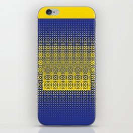 yellow blue dots worl iPhone Skin