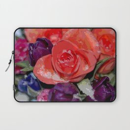 Snow settling on a top of Bouquet of flowers Laptop Sleeve