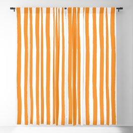 Orange and White Cabana Stripes Palm Beach Preppy Blackout Curtain