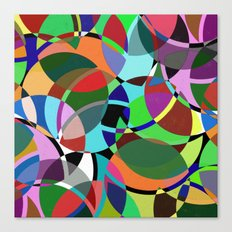 Pastel Pieces II - Abstract, textured, pastel, arcs and circles design Canvas Print