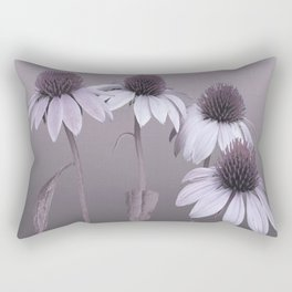 Purple Coneflowers and Dragonfly Rectangular Pillow