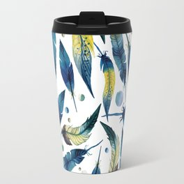 Bohemian Feathers Watercolor Blue and White Travel Mug