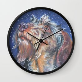 The wirehaired Dachshund dog art portrait from an original painting by L.A.Shepard Wall Clock