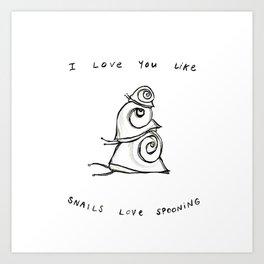 Snails Love Spooning Art Print