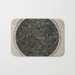 Constellations of the Northern Hemisphere on Vintage Paper Bath Mat