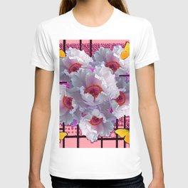 BUTTERFLIES MODERN WHITE TREE PEONY FLOWERS CORAL ART T-shirt