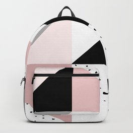 Geometrical pink black gray watercolor polka dots color block Backpack