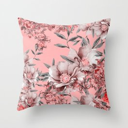Peach Red and Gray Floral Throw Pillow