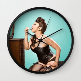 """Touch-up"" - The Playful Pinup - Sexy Pinup Girl Refreshing Lipstick by Maxwell H. Johnson Wall Clock"