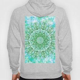 Ocean Aqua Blue Watercolor Mandala , Relaxation & Meditation Turquoise Flower Circle Pattern Hoody