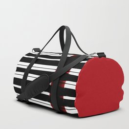 Black And White Lines Duffle Bag