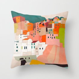 italy coast houses minimal abstract painting Throw Pillow